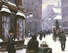 Fischer Paul (Danish) 1860 to 1934 A Street Scene In Winter, Copenhagen SND 1901 O B 40.6 by 26cm. Фишер, Пол
