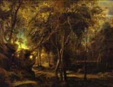 Peter Paul Rubens - A Forest at Dawn with a Deer Hunt. Рубенс, Питер Пауль