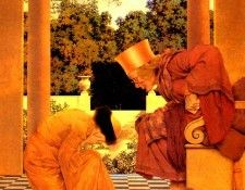 Maxfield Parrish Lady Ursula Kneeling Before Pompdebile, King of Hearts, 1925 sqs. Пэрриш, Maxfield