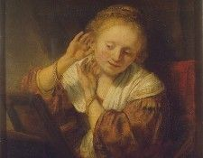 Rembrandt Young Woman with Earrings, 1657, 39.5x32.5 cm, Ere. Рембрандт Харменс ван Рейн