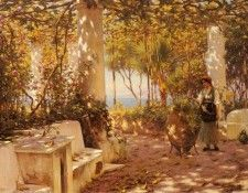 Fisher Horace A Peasant Girl On A Sunlit Veranda. Фишер, Гораций