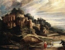 Landscape with the Ruins of Mount Palatine in Rome WGA. Рубенс, Питер Пауль