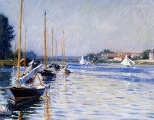 Caillebotte Gustave Boats on the Seine Sun. Кайботт, Гюстав