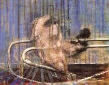 Bacon Crouching Nude on a Rail, 1952. Бэкон, Фрэнсис