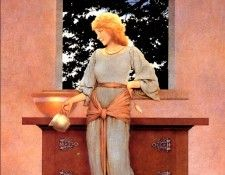 Maxfield Parrish Lady Violetta About to Make Tarts, 1921 sqs. Пэрриш, Maxfield