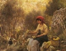 Fisher Horace Young Girls Picking Flowers. Фишер, Гораций