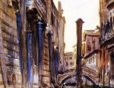 Sargent John Singer Side Canal in Venice. Сарджент, Джон Сингер