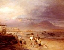 Achenbach Oswald Fishermen With The Bay Of Naples And Vesuvius Beyond. Achenbach, Освальд
