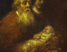 Rembrandt - Simeon with the Christ Child in the Temple. Рембрандт Харменс ван Рейн