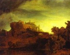 Rembrandt - Landscape with a Castle. Рембрандт Харменс ван Рейн