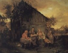 A Family Resting At Sunset. Danhauser, Йозеф