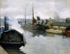 Arntzenius Floris Pieter Moored shiips in city harbour Sun. Arntzenius, Флорис
