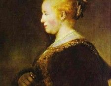 Rembrandt - Portrait of a Young Woman with the Fan. Рембрандт Харменс ван Рейн