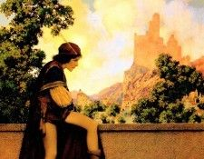 Maxfield Parrish The Knave Watching Violetta Depart, 1924 sqs. Пэрриш, Maxfield
