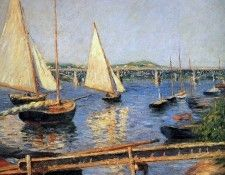Caillebotte Gustave Sailing boats at Argentueil Sun. Кайботт, Гюстав