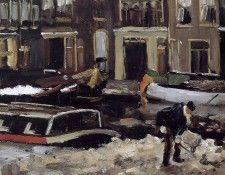 Arntzenius Floris Snow clearing on Amsterdam canal Sun. Arntzenius, Флорис