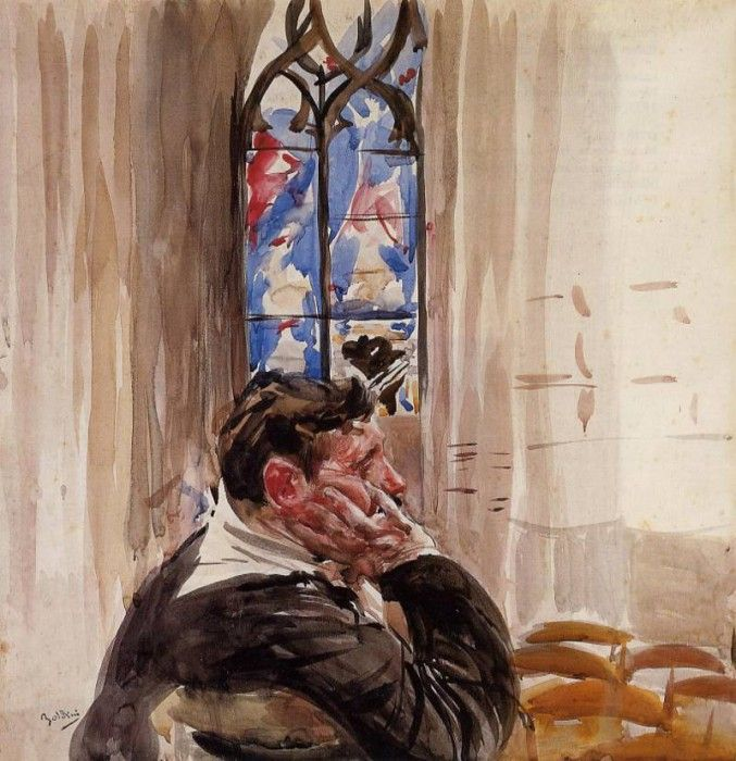 Boldini Giovanni Portrait of a Man in Church. Boldini, Джованни