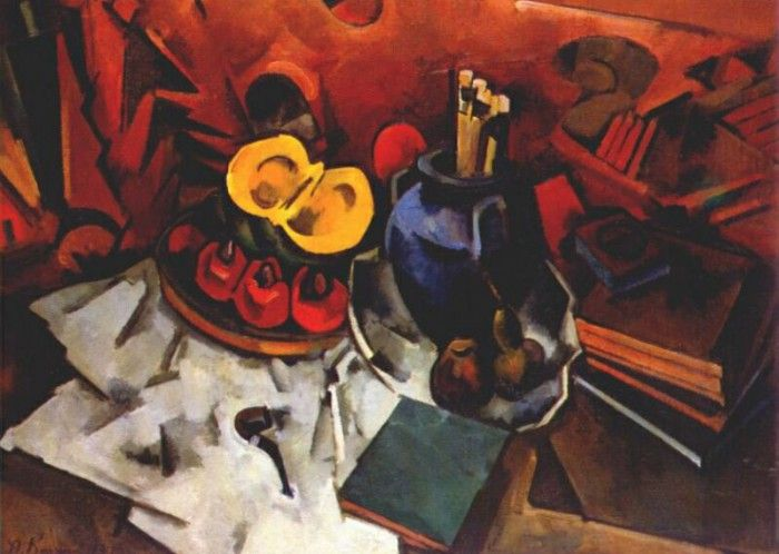kuprin still life with gourd vase and brushes 1917. Куприн