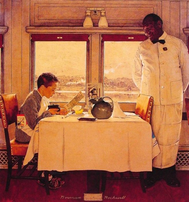 Boy in A dining Car. Рокуэлл, Норман