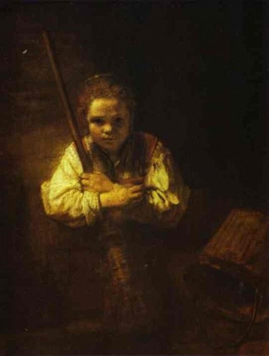 Rembrandt - A Girl with a Broom. Рембрандт Харменс ван Рейн