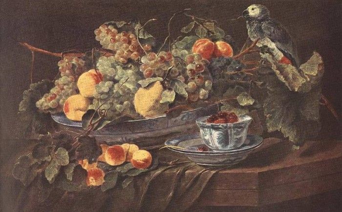 FYT Jan Still Life With Fruits And Parrot. Fyt, Ян