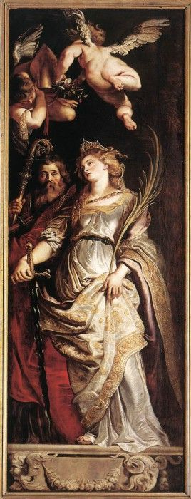 Rubens Raising of the Cross Sts Eligius and Catherine. Рубенс, Питер Пауль