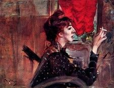 The Red Curtain. Boldini, Джованни