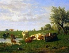 Bilders Albert Gerard Cows in a meadow Sun. Bilders, Альберт