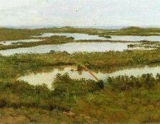 Bierstadt Albert A River Estuary. Бирштадт, Альберт