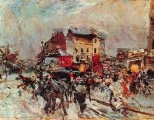 Exit of a Costumes Ball in Montmartre. Boldini, Джованни