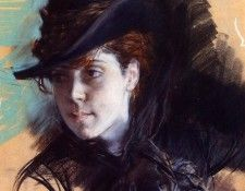 Girl in a Black Hat 1890. Boldini, Джованни