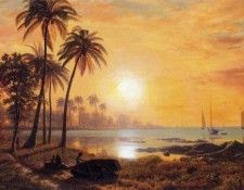 Bierstadt Albert Tropical Landscape with Fishing Boats in Bay. Бирштадт, Альберт