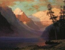 Bierstadt Albert Evening Glow Lake Louise. Бирштадт, Альберт