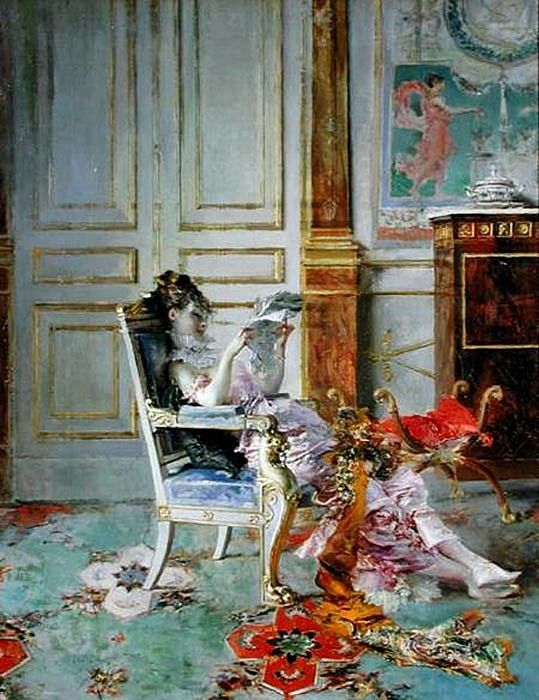 Girl Reading in a Salon 1876. Boldini, Джованни