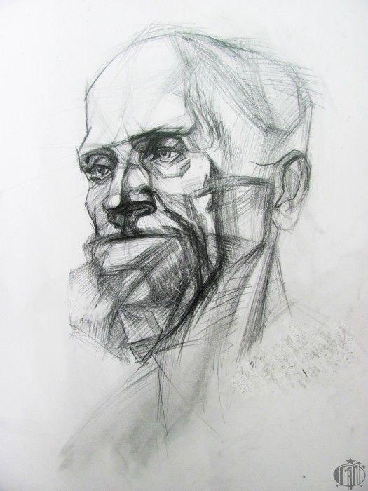 Конструктивное построение головы старого человека