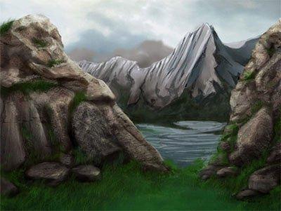 Как рисовать камень и мох